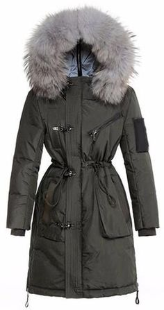 Fur-Hooded Winter Parka Down Coat in Army Green