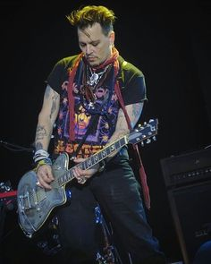 Johnny Depp rocking out in his Alice Cooper t-shirt in Stockholm May 30th, 2016.