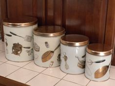 vintage kitchen canister set of 4 Weibro canister set by brixiana, $24.00