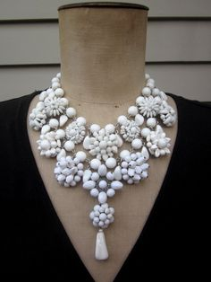Vintage Necklace, Wedding jewelry, Milk Glass Necklace - Snow Drift. $185.00, via Etsy.