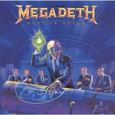 """Rust in Peace is the fourth studio album by the American thrash metal band Megadeth.The album artwork was created by artist Ed Repka.It references """"Hangar and depicts band mascot Vic Rattlehead and world leaders of the era viewing an alien body. Hard Rock, Heavy Metal, Thrash Metal, Black Sabbath, Iron Maiden, James Hetfield, Megadeth Albums, Rock And Roll, Vic Rattlehead"""