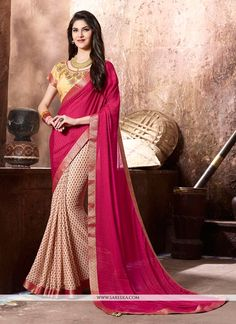 Women s Clothing - Party Wear Pink & Beige Georgette Saree - 77114 - Products Details : Style : Party Wear Saree / Half-Half Saree Size : Length Of Saree : - Party We Indian Sarees Online, Ethnic Wear Designer, Casual Saree, Traditional Fashion, Indian Ethnic Wear, Half Saree, Georgette Sarees, Party Wear Sarees, Printed Sarees