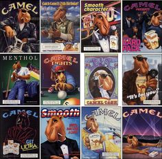In 1987, R.J. Reynolds created Joe Camel (officially Old Joe) as the advertising mascot for Camel cigarettes from 1987 to July 12, 1997. Joe Camel was always a cartoon character with beautiful and exotic women and cool themes and bright colors to grab your attention as you flipped through a magazine. This theme in these two ads are Top Gun and Miami Vice, all great movies from the late 80's early 90's era.