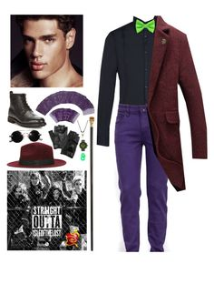 """Disney Descendants OC: Louis, son of Dr. Facilier"" by mermer1324 ❤ liked on Polyvore featuring Alexander McQueen, Polo Ralph Lauren, Armani Jeans, Weil & Harburg, KAOS, Carolina Amato, NOVICA, men's fashion and menswear"