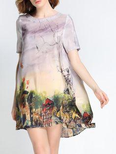 Printed Satin Mini Dress