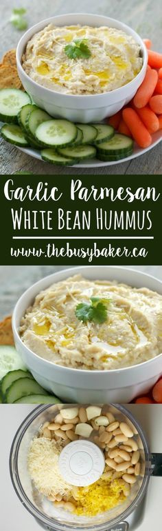 Garlic Parmesan White Bean Hummus recipe from thebusybaker.ca! The perfect St. Patrick's Day snack with your favourite green veggies!