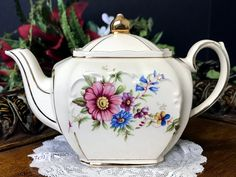 Single Serve Sadler Cube Teapot, One Cup Floral Tea Pot, Made in England -K