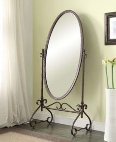 Metal Oval Cheval Mirror Free Standing Antique Brown Finish Bedroom Decor New #mirror
