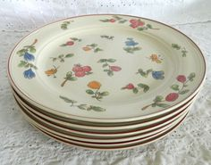"Set of 6 Epoch Eppingham 5003 Stoneware 10.5"" Dinner Plates Butterfly Flowers #Epoch"