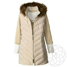 Coldwater Creek Long Quilted Vest HP Beautiful long cream quilted vest with removable faux fur hood.  ▪ Fabric: Shell 100% Polyester, Lining 100% Polyester, Filling 50% Down, 50% Waterfowl feathers, Hood Fiberfill 100% Polyester, Faux Fur Hood trim  ▪ Care: Wash Cold, separately, Gentle cycle   Brand new with tags & never taken out of the package.   All Sales Final |  Trades or Holds Coldwater Creek Jackets & Coats Vests