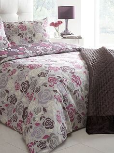 Plum 'Camellia' floral bedding set - Duvet covers & pillow cases - Bedding - Home & furniture -