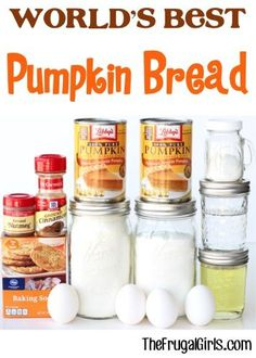 Best Pumpkin Bread Recipe!!  My family LOVES this easy recipe - it makes the most delicious, moist Pumpkin Bread... a perfect match for your Fall mornings or paired with a cup of Coffee!