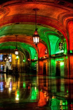 Chicago City Hall in Christmas red and green lights is like the North Pole. by spudart, via Flickr