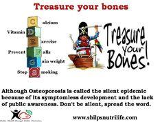 #Treasureurbones   #calcium #vitaminD #sunlight #exercise #osteoporosis  http://shilpsnutrilife.com