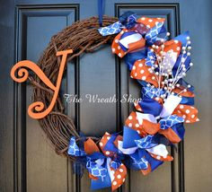 Blue and Orange Monogram Wreath - Ribbon on Grapevine Florida Gators Denver Broncos Wreath on Etsy, $50.00