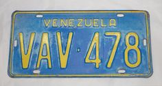 1980s, Venezuela. Beautiful Old Blue/Yellow License Plate / Car Tag.