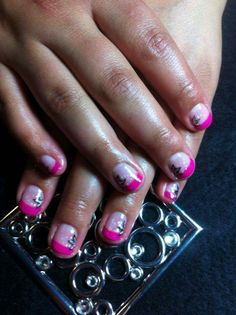 Pink gel Polish nails with painted flower