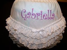 Embroidered Ruffled Diaper Cover/Bloomers Monogrammed by kutekiddo, $13.50
