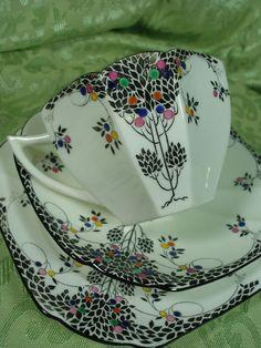 1920-1939 Shelley 'Black Leafy Tree' Pattern, Tea Cup Trio. Queen Anne Shape. found on ebay