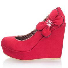 Side Bow Design Red Suede Princess Wedges