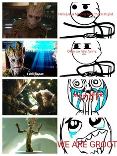 Guardians Of The Galaxy - Groot. this was exactly what my mom said before and after watching GOTG lol Gaurdians Of The Galaxy, I Am Groot, Sounds Like, A Good Man, Marvel Dc, Loki, Movies And Tv Shows, Movie Tv, Fandoms