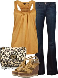 """""""Golden Yellow Tank"""" by styleofe on Polyvore"""