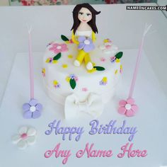Cute Doll Birthday Cake For Girls With Name