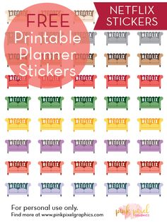 Free Printable Netflix Planner Stickers {subscription required}. See more at www.pinkpixelgraphics.com