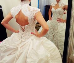 Modern Victorian Wedding Dress and French Lace Shrug  www.whytecouture.com
