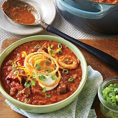 Quick Beef Chili | Rich, beefy petite tender, the quick-cooking foundation of this stew and a supermarket steak cut from shoulder, looks and tastes like tenderloin but costs a third of the price. Can't find it? Try chuck-eye steak, which has good flavor but needs a little more trimming. | SouthernLiving.com