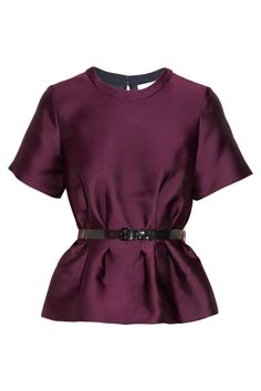 Belted satin-twill peplum topin deep jewel tone. A staple for Fall and into the Winter holidays!