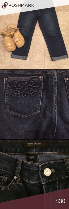 White house black market jeans size 2 This is a pair of White house black market ,jeans size 2 Capri style cuff on the bottom , beautiful embroidery design on pockets in the back and in the front dimensions are, waist 34 hips 32 inseam 21 length 29, or measurements on approximate bases jeans are spandex. White house black market Shorts Jean Shorts