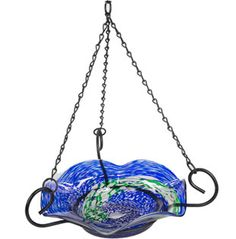 Illuminarie Blue Swirl Hanging Birdbath - could make with plastic beads?