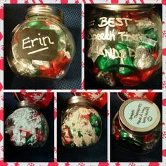 "Christmas gift my son and I made for his speech therapist. She is absolutely amazing with him so we wanted to do a lil something for her. Had some glass jars I got for .49 and I always have art supplies around. Made sure his handprints were facing down to go with the saying on the side ""BEST Speech Therapist HANDS DOWN."" I also wrote his name and the year on bottom of jar with a ""made just for you by."" She loved it :)"