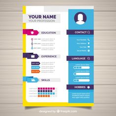 Abstract curriculum template with colorful style Free Vector Infographic Resume Template, Job Resume Template, Cv Curriculum Vitae, Curriculum Vitae Template, Graphic Design Lessons, Graphic Design Resume, Resume Design Template, Creative Resume Templates, Portfolio Design Grafico