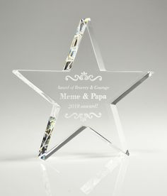 The North Star is a freestanding crystal star shaped trophy. This custom award is suitable for any occasion and especially common for those who act as a guiding light. #startrophy #crystaltrophydesign #recognitionideas #crystalawardstrophy #appreciationgifts #crystalawardtrophy #employeeaward #personalizedplaques #personalizedgift #customaward Glass Awards, Crystal Awards, Star Trophy, Employee Awards, Personalized Plaques, Trophy Design, Custom Awards, Recognition Awards, Appreciation Gifts