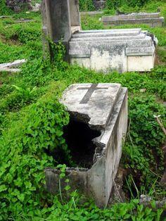 An open grave...
