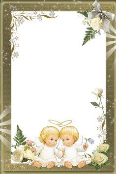 Beautiful Transparent Photo Frame with Angels Happy Birthday Kids, Baby Birthday, Baptism Cards, Image Beautiful, Christmas Border, Christmas Stationery, Cute Frames, Birthday Frames, Baby Clip Art