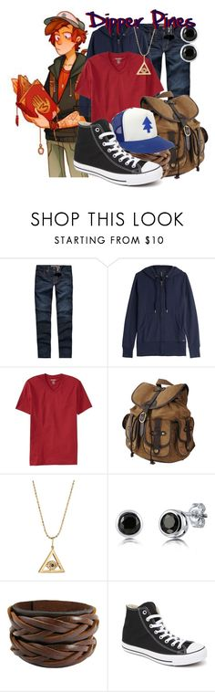 """""""Dipper Pines from Gravity Falls"""" by ginger-coloured ❤ liked on Polyvore featuring Levi's, MABEL, Woolrich, Old Navy, Forever 21, Sydney Evan, BERRICLE and Converse"""