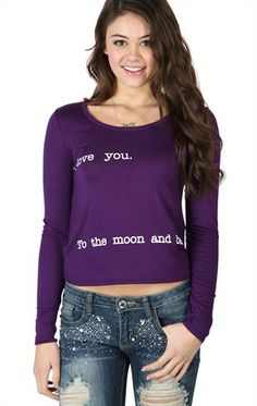 """long sleeve mid crop top with """"I love you to the moon and back"""" screen"""