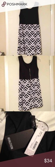NWT geo print fit and flare dress NWT size medium dress from 41Hawthorn  / Stitch Fix. Black-and-white patterned skirt with exposed silver zipper detail in back. Falls just above the knee. Ships from a smoke free, pet free home. 41Hawthorn Dresses