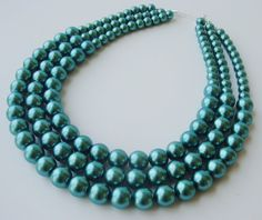 Teal Pearl Necklace Chunky Pearl Necklace by PolishedPlum on Etsy, $40.00