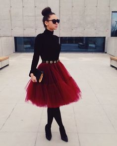 Valentines Day Red Burgundy Fluffy Full Layered Petticoat Tulle Skirt Tutu Bridesmaid, Wedding, Flower Girl Gown – Clothing - To Have a Nice Day Look Fashion, Fashion Outfits, Lolita Fashion, Skirt Fashion, Fashion News, Silvester Outfit, Flower Girl Gown, Modelos Fashion, Little Red Dress