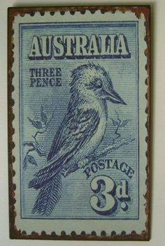 Old Australian stamp - back in the day when we used pounds, shillings and pence.