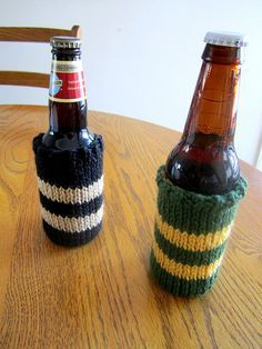 Easy Knit Beer Cozy Pattern Using Size 10 Straight Needles and Stockinette Stitch. Super Easy!