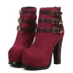 Chic Chunky Heel Red Fashion Boots