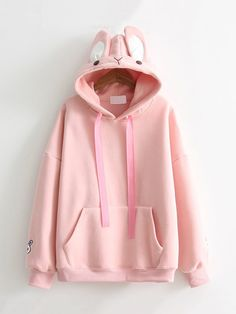Kangaroo Pocket Rabbit Design Hoodie
