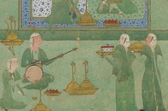 the fifth-century king Bahram Gur had 7 castles, each painted a different color and housing a different royal mistress. each castle provided a different music ensemble for the king & his princess to enjoy. 16-century painting depicts his turquoise-blue pavilion with a duo of musicians on setar and doira.  Folio from a Khamsa by Nizami; Bahram Gur in the turquoise-blue pavilion; text; Murshid al-Shirazi; Safavid period, 1548; ink, opaque watercolor, and gold on paper; origin: Shiraz, Fars…
