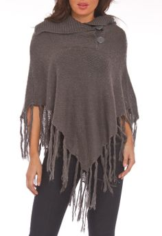 Fringe Poncho in Charcoal - Beyond the Rack