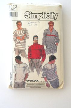 1980s Mens Pullover Shirt Pattern Simplicity 8410 Long or Short Sleeve Henley Top Sewing Pattern Yoke Zip or Button Front Size M Chest 38-40